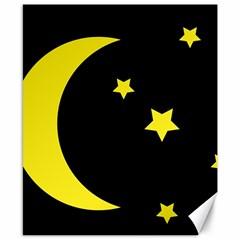Moon Star Light Black Night Yellow Canvas 8  X 10  by Alisyart