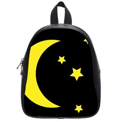 Moon Star Light Black Night Yellow School Bags (small)  by Alisyart