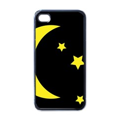 Moon Star Light Black Night Yellow Apple Iphone 4 Case (black) by Alisyart