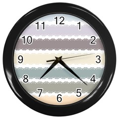 Muted Lace Ribbon Original Grey Purple Pink Wave Wall Clocks (black) by Alisyart