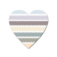 Muted Lace Ribbon Original Grey Purple Pink Wave Heart Magnet by Alisyart
