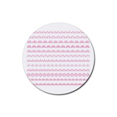 Pink Lace Borders Pink Floral Flower Love Heart Rubber Round Coaster (4 Pack)  by Alisyart