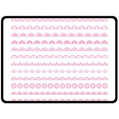 Pink Lace Borders Pink Floral Flower Love Heart Double Sided Fleece Blanket (large)  by Alisyart
