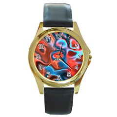 Abstract Fractal Round Gold Metal Watch