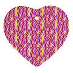 Pink Yelllow Line Light Purple Vertical Ornament (heart) by Alisyart