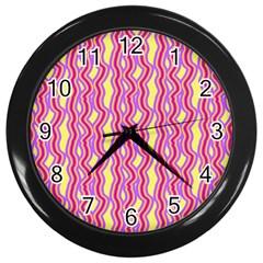Pink Yelllow Line Light Purple Vertical Wall Clocks (black) by Alisyart