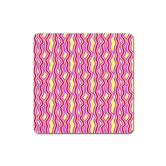 Pink Yelllow Line Light Purple Vertical Square Magnet by Alisyart