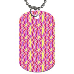 Pink Yelllow Line Light Purple Vertical Dog Tag (two Sides) by Alisyart
