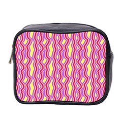 Pink Yelllow Line Light Purple Vertical Mini Toiletries Bag 2 Side by Alisyart