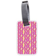 Pink Yelllow Line Light Purple Vertical Luggage Tags (one Side)  by Alisyart