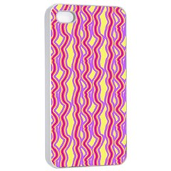 Pink Yelllow Line Light Purple Vertical Apple Iphone 4/4s Seamless Case (white) by Alisyart