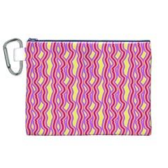 Pink Yelllow Line Light Purple Vertical Canvas Cosmetic Bag (xl) by Alisyart