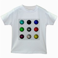 9 Power Buttons Kids White T Shirts by Simbadda