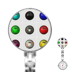 9 Power Buttons Stainless Steel Nurses Watch