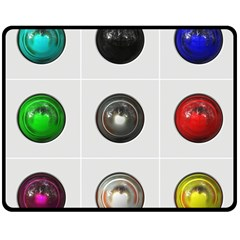 9 Power Buttons Double Sided Fleece Blanket (medium)  by Simbadda
