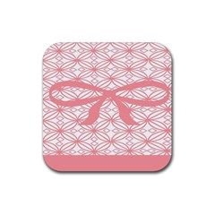 Pink Plaid Circle Rubber Square Coaster (4 Pack)  by Alisyart