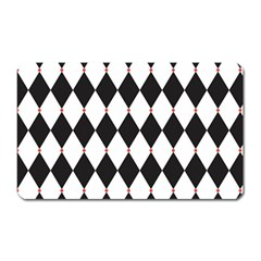 Plaid Triangle Line Wave Chevron Black White Red Beauty Argyle Magnet (rectangular) by Alisyart