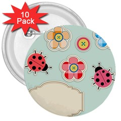 Buttons & Ladybugs Cute 3  Buttons (10 Pack)  by Simbadda