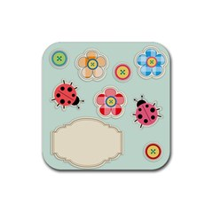 Buttons & Ladybugs Cute Rubber Square Coaster (4 Pack)  by Simbadda