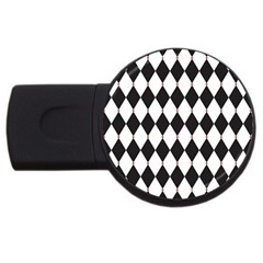 Plaid Triangle Line Wave Chevron Black White Red Beauty Argyle USB Flash Drive Round (4 GB)