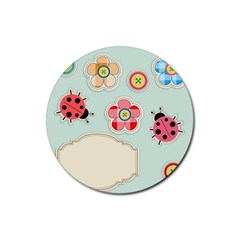 Buttons & Ladybugs Cute Rubber Coaster (round)  by Simbadda