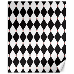 Plaid Triangle Line Wave Chevron Black White Red Beauty Argyle Canvas 11  X 14   by Alisyart