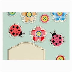Buttons & Ladybugs Cute Large Glasses Cloth (2 Side) by Simbadda