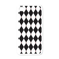 Plaid Triangle Line Wave Chevron Black White Red Beauty Argyle Apple Iphone 4 Case (white) by Alisyart