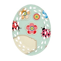 Buttons & Ladybugs Cute Ornament (oval Filigree) by Simbadda