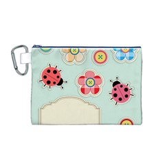 Buttons & Ladybugs Cute Canvas Cosmetic Bag (m) by Simbadda