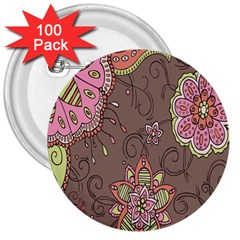 Ice Cream Flower Floral Rose Sunflower Leaf Star Brown 3  Buttons (100 pack)