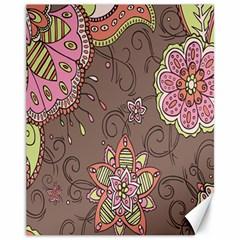 Ice Cream Flower Floral Rose Sunflower Leaf Star Brown Canvas 11  X 14   by Alisyart
