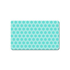 Plaid Circle Blue Wave Magnet (name Card) by Alisyart