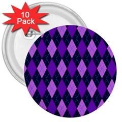Plaid Triangle Line Wave Chevron Blue Purple Pink Beauty Argyle 3  Buttons (10 Pack)  by Alisyart