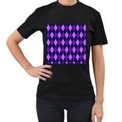 Plaid Triangle Line Wave Chevron Blue Purple Pink Beauty Argyle Women s T Shirt (black) (two Sided)