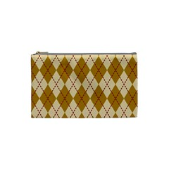 Plaid Triangle Line Wave Chevron Orange Red Grey Beauty Argyle Cosmetic Bag (small)  by Alisyart