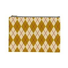 Plaid Triangle Line Wave Chevron Orange Red Grey Beauty Argyle Cosmetic Bag (large)  by Alisyart