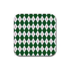 Plaid Triangle Line Wave Chevron Green Red White Beauty Argyle Rubber Coaster (square)  by Alisyart