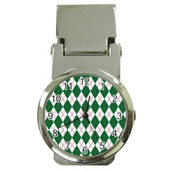 Plaid Triangle Line Wave Chevron Green Red White Beauty Argyle Money Clip Watches by Alisyart