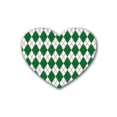 Plaid Triangle Line Wave Chevron Green Red White Beauty Argyle Heart Coaster (4 Pack)  by Alisyart