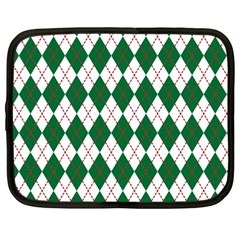 Plaid Triangle Line Wave Chevron Green Red White Beauty Argyle Netbook Case (large) by Alisyart