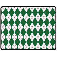 Plaid Triangle Line Wave Chevron Green Red White Beauty Argyle Double Sided Fleece Blanket (medium)  by Alisyart