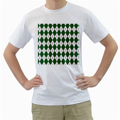 Plaid Triangle Line Wave Chevron Green Red White Beauty Argyle Men s T Shirt (white)  by Alisyart