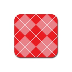 Plaid Triangle Line Wave Chevron Red White Beauty Argyle Rubber Square Coaster (4 Pack)  by Alisyart