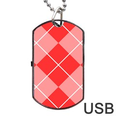 Plaid Triangle Line Wave Chevron Red White Beauty Argyle Dog Tag Usb Flash (two Sides) by Alisyart