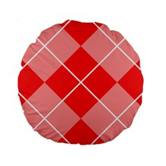 Plaid Triangle Line Wave Chevron Red White Beauty Argyle Standard 15  Premium Round Cushions by Alisyart