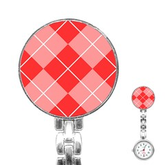 Plaid Triangle Line Wave Chevron Red White Beauty Argyle Stainless Steel Nurses Watch by Alisyart