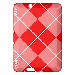 Plaid Triangle Line Wave Chevron Red White Beauty Argyle Kindle Fire Hdx Hardshell Case by Alisyart