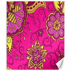 Pink Lemonade Flower Floral Rose Sunflower Leaf Star Pink Canvas 8  X 10  by Alisyart