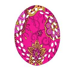 Pink Lemonade Flower Floral Rose Sunflower Leaf Star Pink Ornament (oval Filigree) by Alisyart